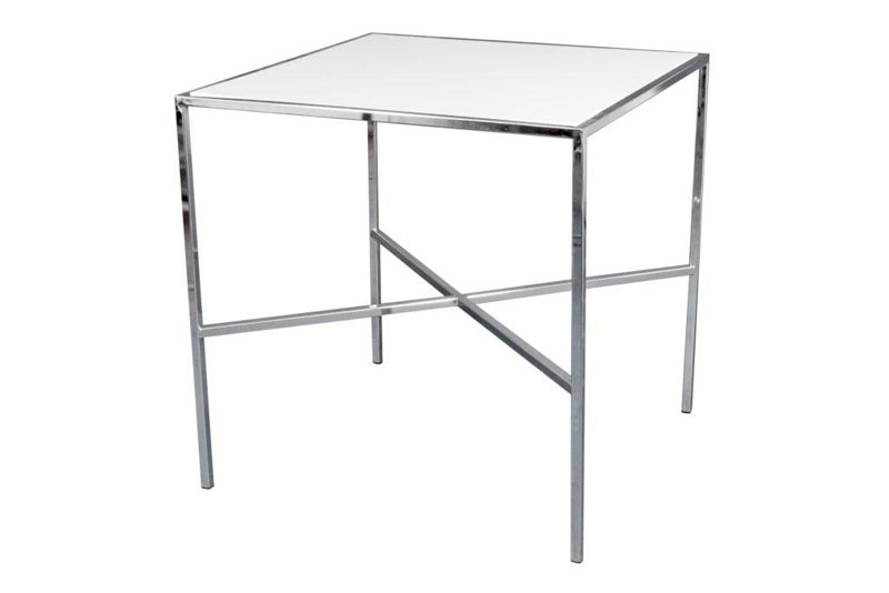 Casual 1 30X30X30 Chrome Casual Table Rental