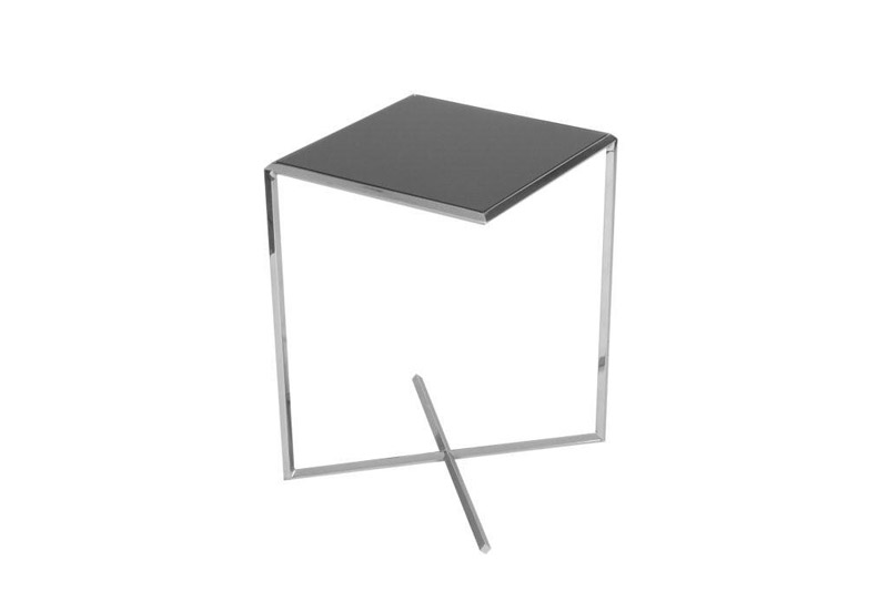 ET-1 X Base END Table 15IN Square Black GLASS Furniture Rental