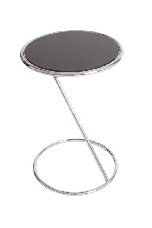 ET-4 O Base Black GlaSS-End Table 15IN Round Furniture Rental