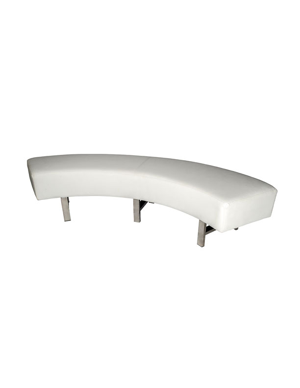 SS-65 White Curved Bench W72 H18 L18 soft seating Furniture Rental
