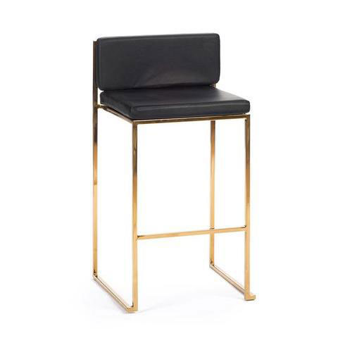 BS-9 Gold Stool Black Seat