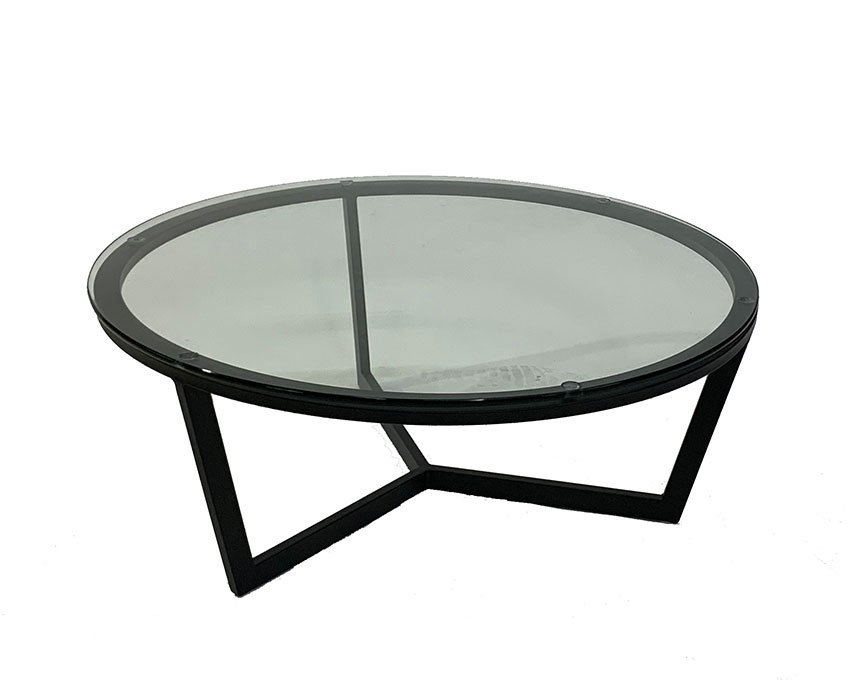 CT-12 31 Rnd Coffee Table BLK/Clear Top